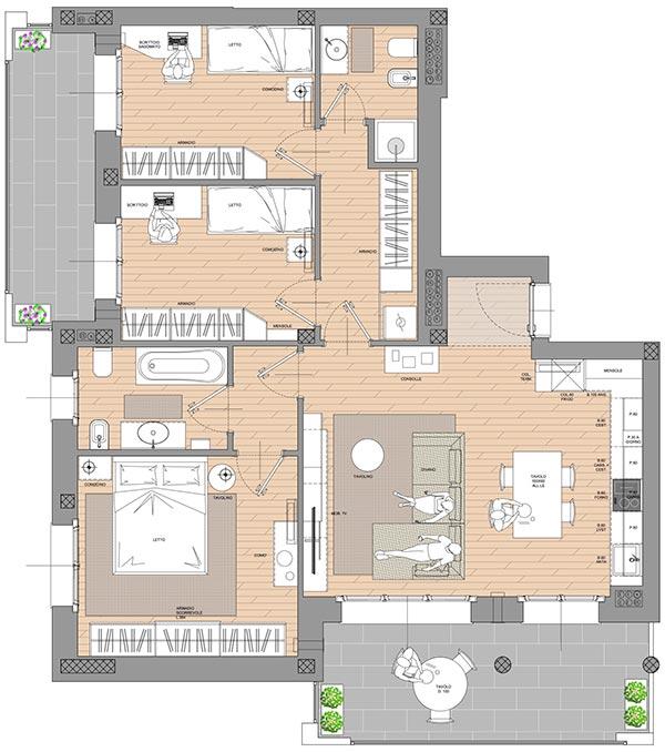 planimetria appartamento quadrilocale residenza cascina gaita