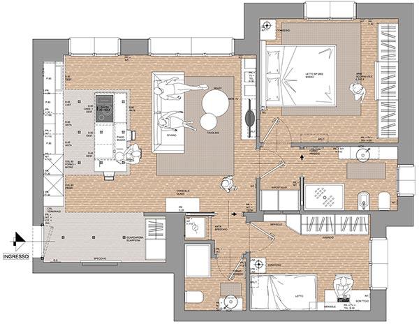 planimetria appartamento trilocale residenza cascina gaita